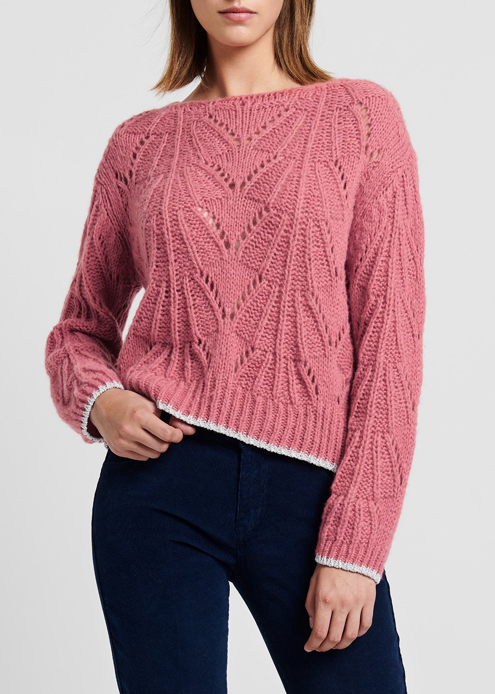 Floral-coloured wool sweater with contrast lurex edges - Floreale - Woman