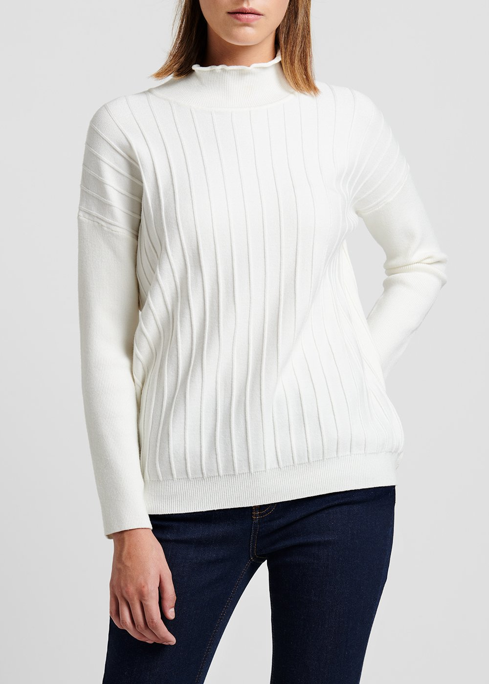 Turtleneck sweater in raw viscose - White - Woman