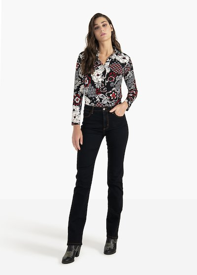 Pantaloni Carrie in denim nero con impunture a contrasto