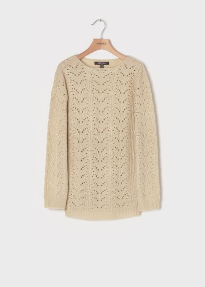 Fog-coloured sweater with openwork motifs