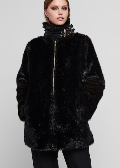 Beaver - effect faux fur coat