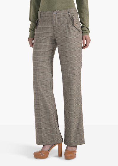 Trousers Poly in poly-viscose Ashley patterned check