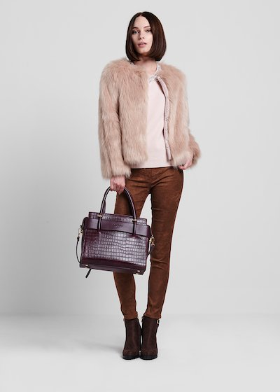 Faux-leather bag with crocodile print