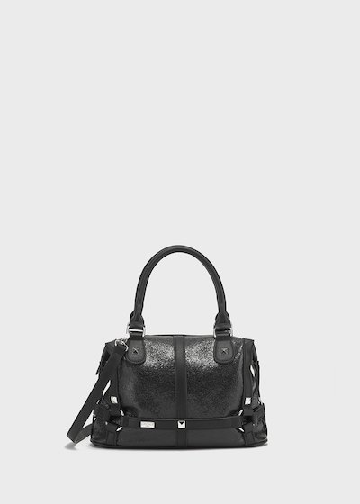 Crackle faux-leather Bammy bowler bag