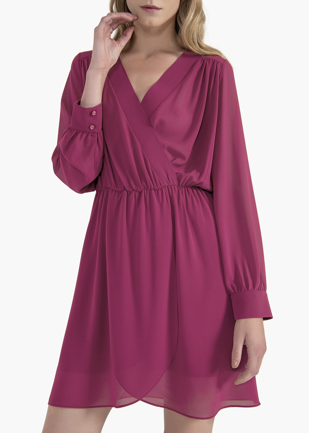 Andres georgette dress with crossover neckline - Magnolia - Woman