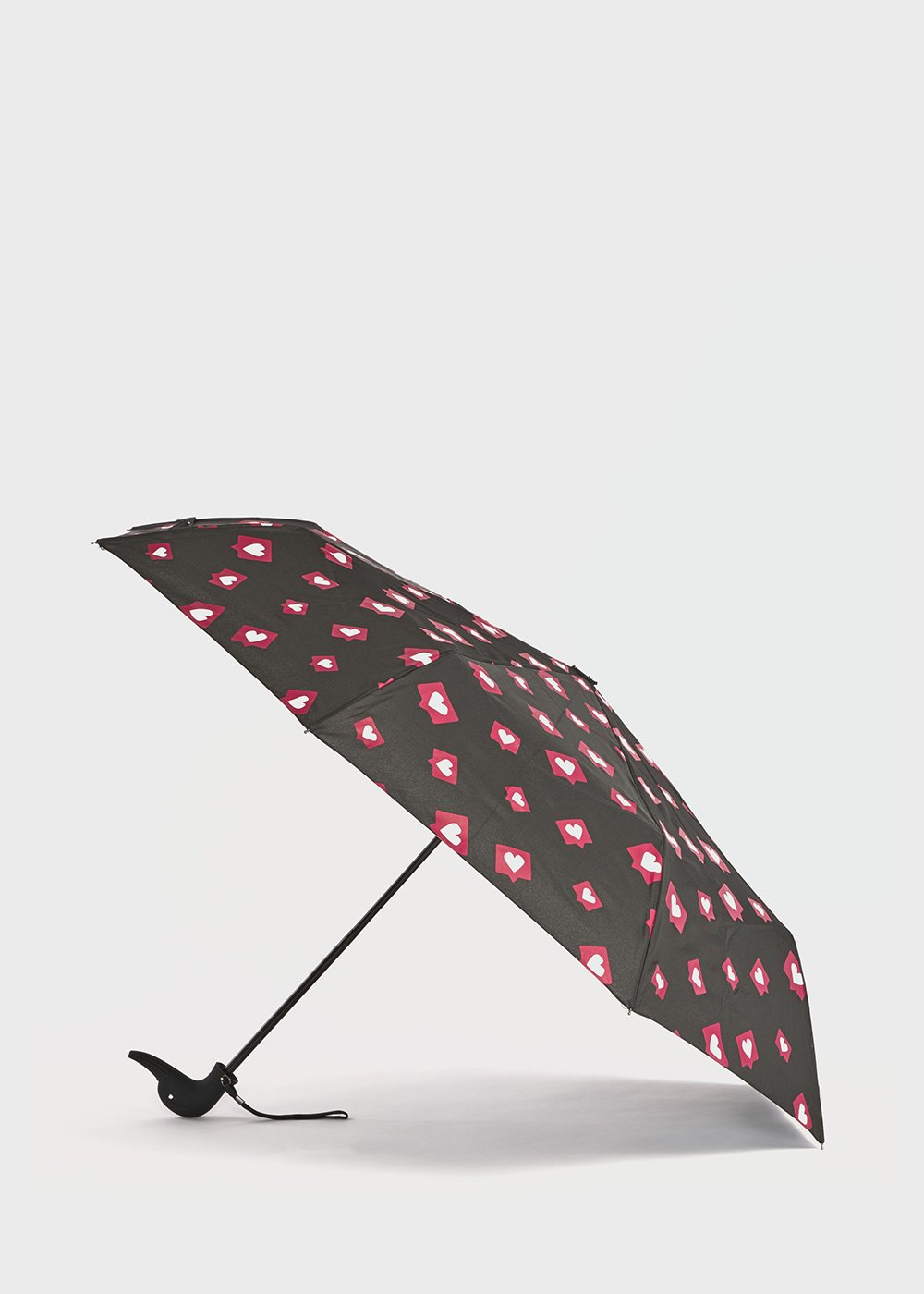 Umbrella with duck handle with medium blue background