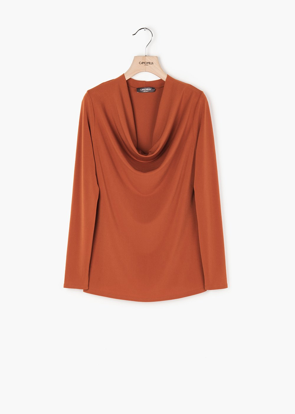 Laura long-sleeved T-shirt with hood neckline - Ruggine - Woman