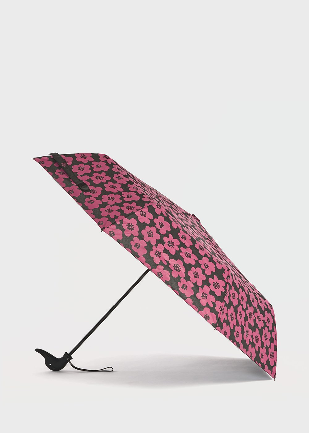 Umbrella with duck handle with flowers pattern - Black / Floreale Fantasia - Woman