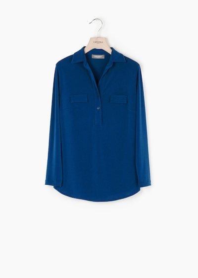 T-shirt Paola in crêpe con collo camicia