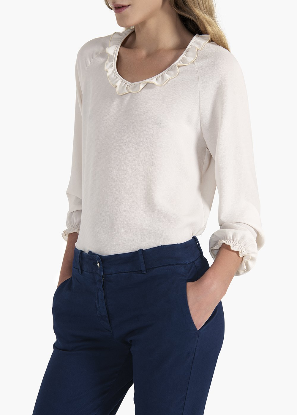Sabina T-shirt with round neckline and rouches - Grey - Woman
