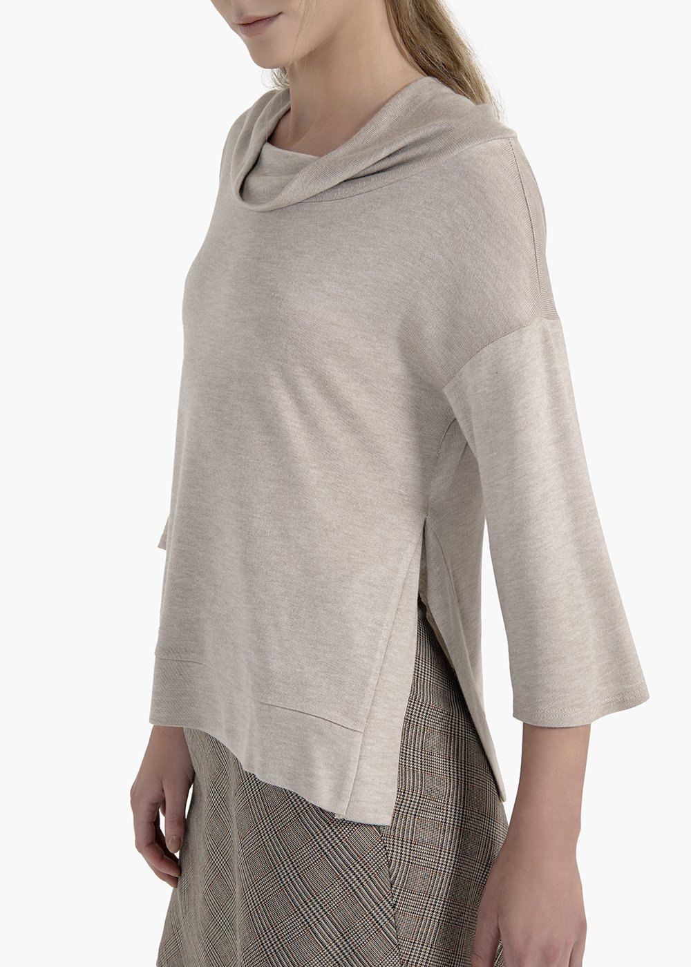 T-shirt Martin in raw viscose with ring collar - Grey - Woman