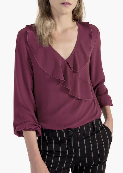 Carmen crêpe t-shirt with puff sleeves