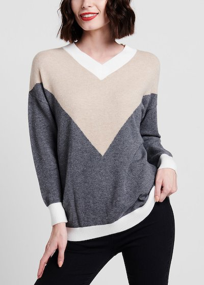 V-neck viscose sweater