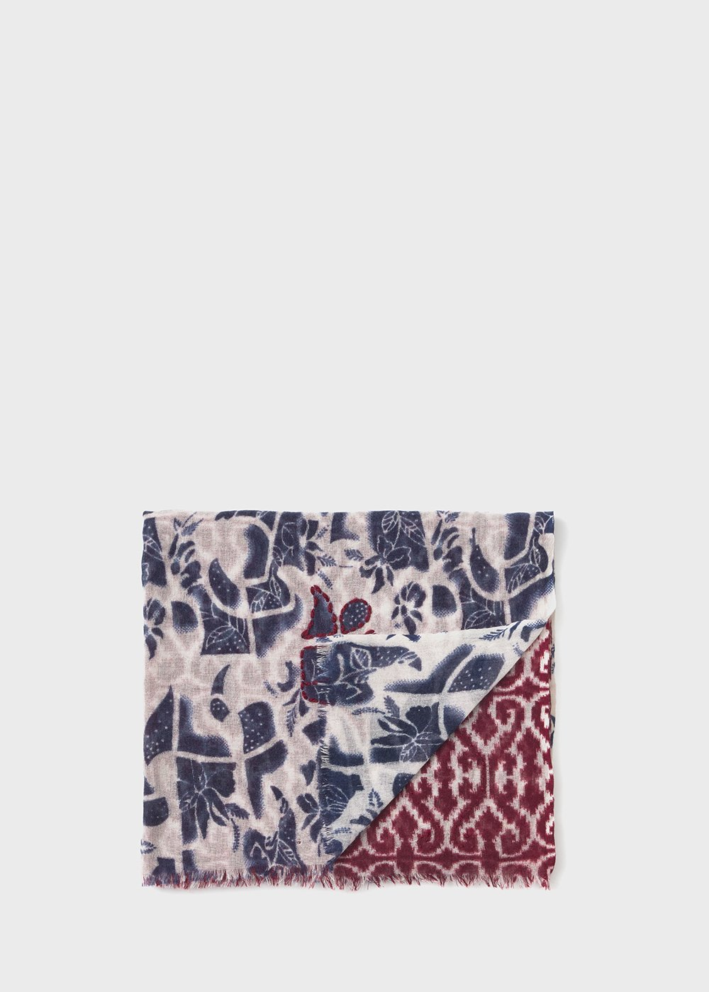Raw floral printed scarf - Grezzo Fantasia - Woman