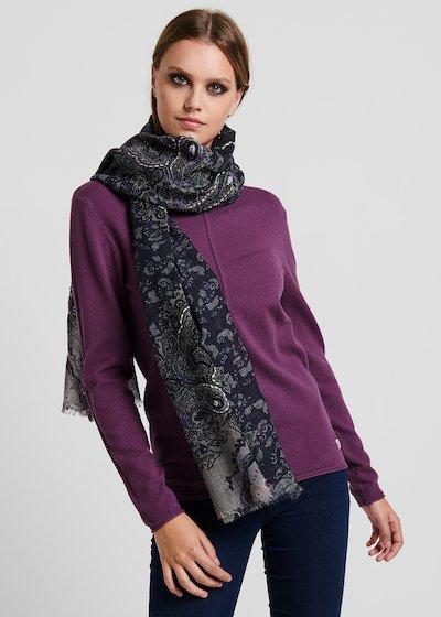 Sciarpa di lana con ricami