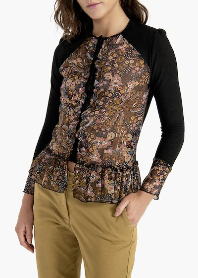 Clio cashmere and floral print cardigan