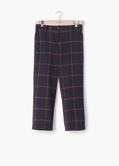 Paolo trousers in seesucker fabric in checked squares
