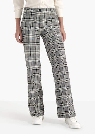 Ashley Clair trousers in poly-viscose check pattern
