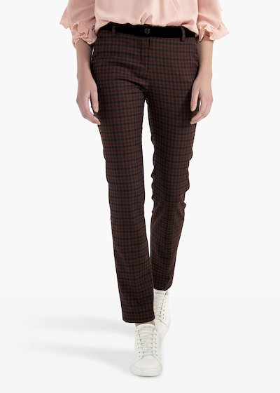 Clair trousers in check pattern with velvet detail