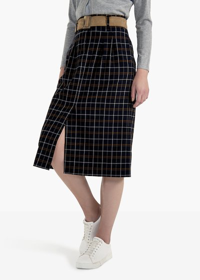 Gael skirt in A in polyviscose check pattern with belt