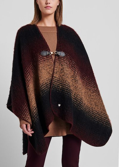 Shaded cape with faux-leather closure with hook