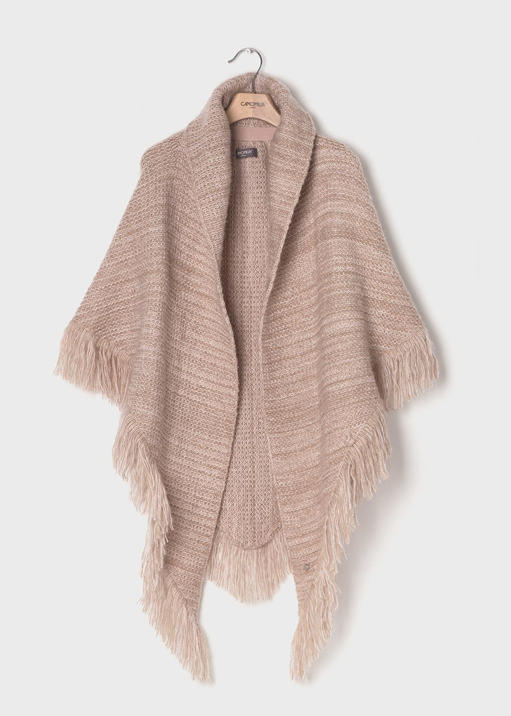 Knit cape with fringes at the bottom