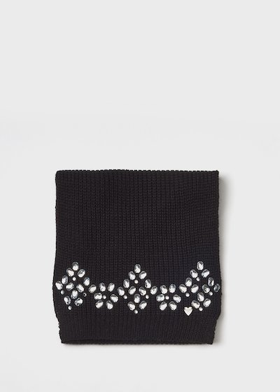 Black knit scarf with crystal embroidery