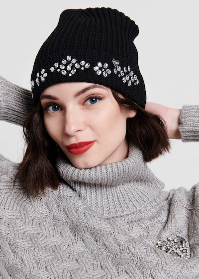 Black knit hat with crystal embroidery