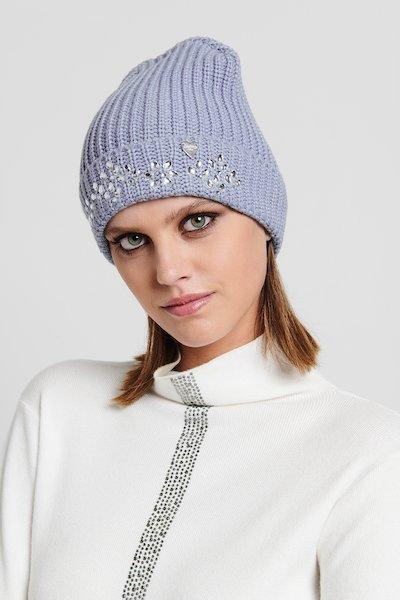 Cappello in maglia black con ricamo di cristalli