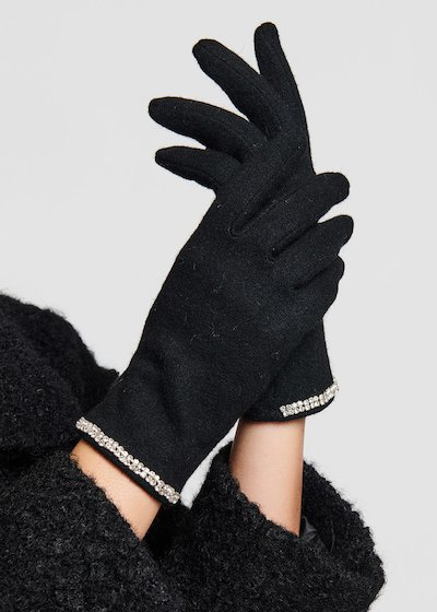 Black wool gloves with rhinestones border