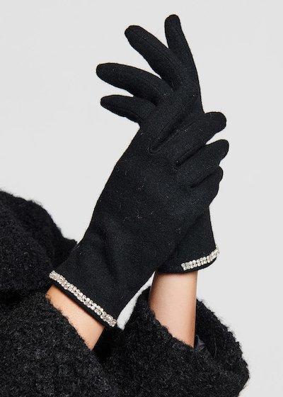 Guanti in lana black con bordo di strass