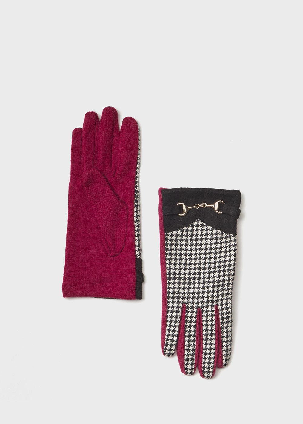 Houndstooth wool gloves