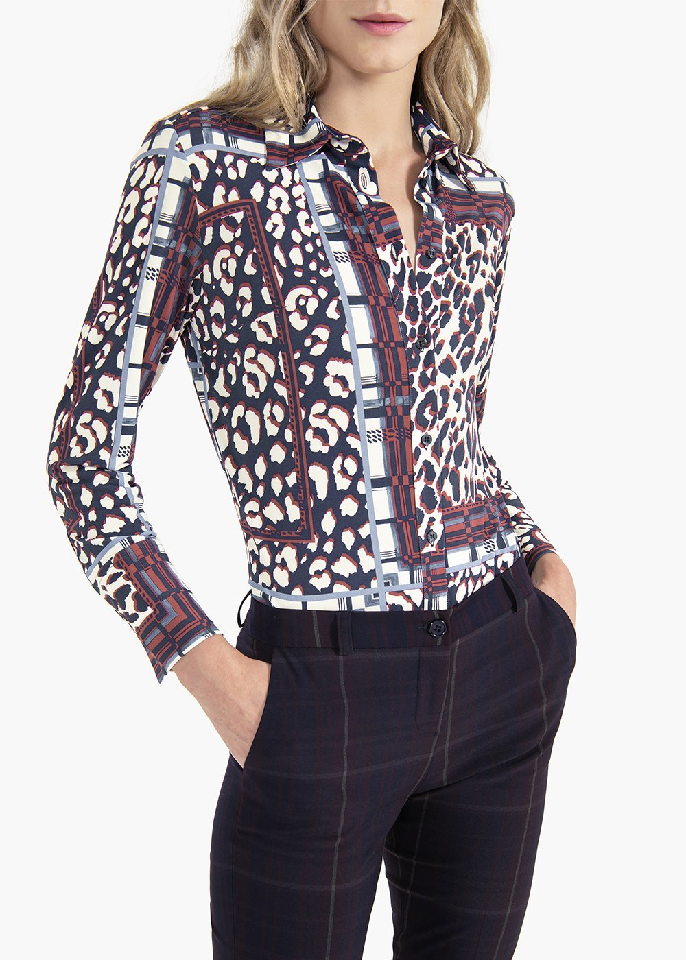 Alessia blouse with spotted print and rectangles - Blue  / Bordeaux Animalier - Woman