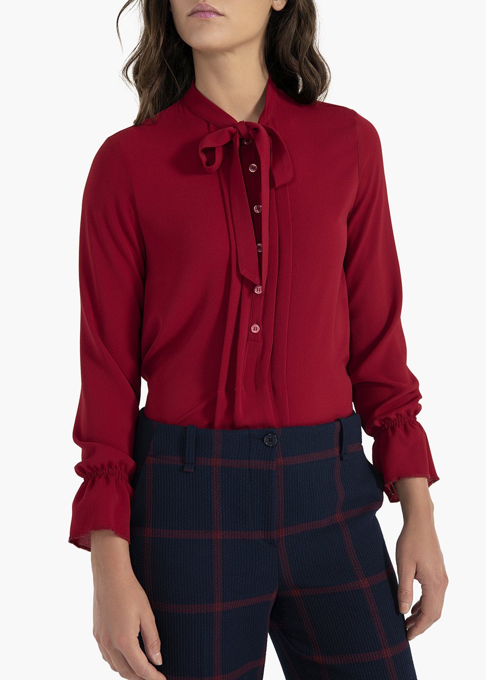 Catia shirt with scarf collar and curled cuffs - Bordeaux - Woman