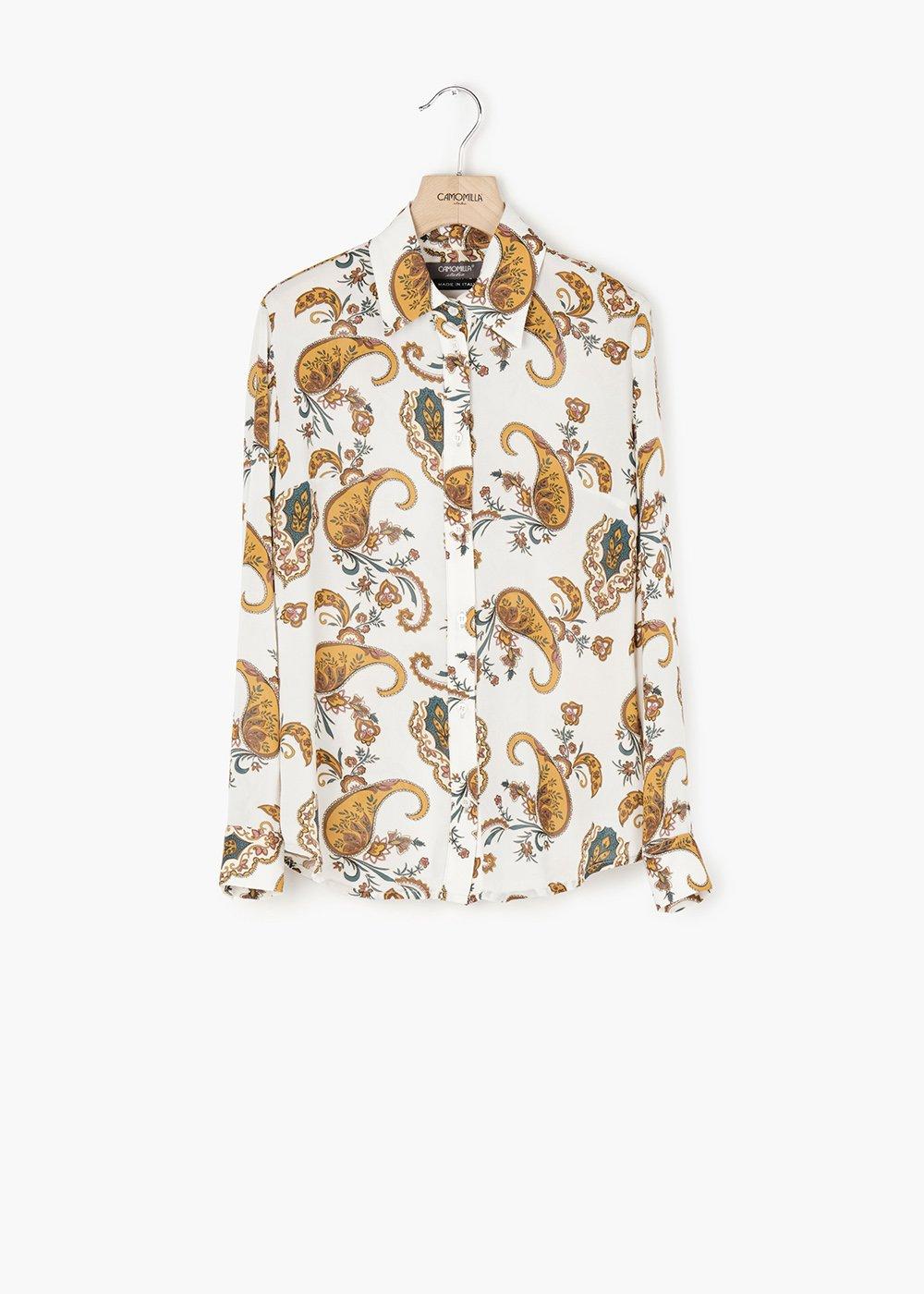 Alessia cashmere print shirt with long sleeves - White /  Mostarda Fantasia - Woman
