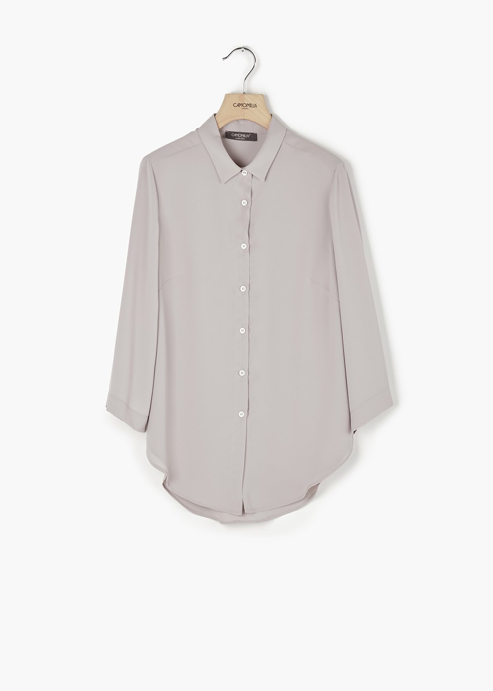 Carlotta shirt with collar and buttons - Light Grey - Woman