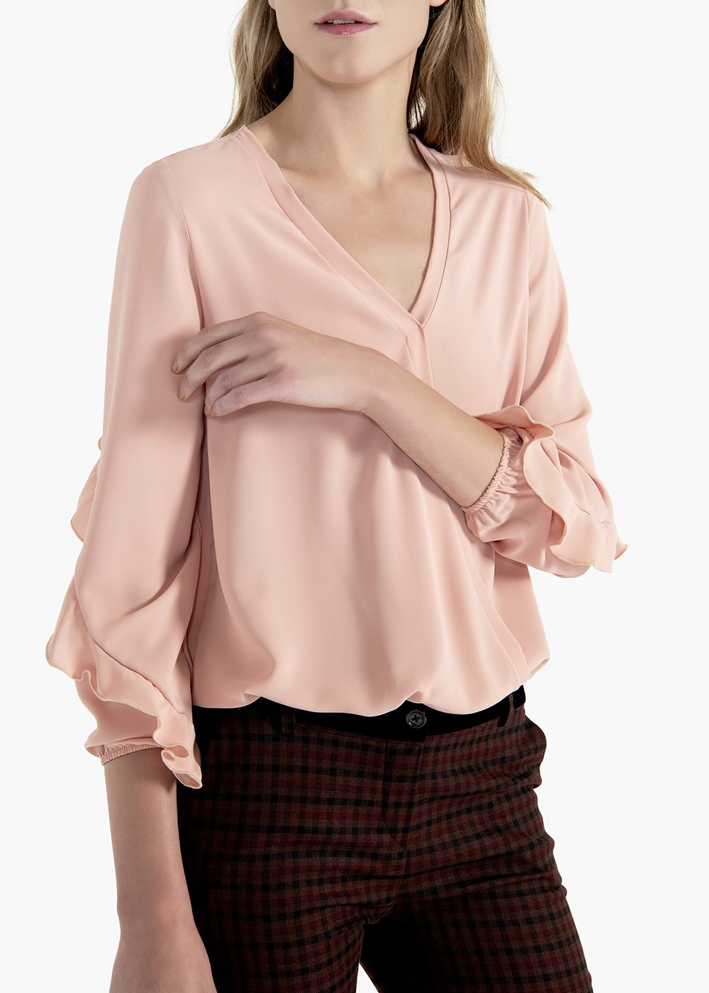 Elena crêpe shirt with ruffles on the sleeves - Rosette - Woman