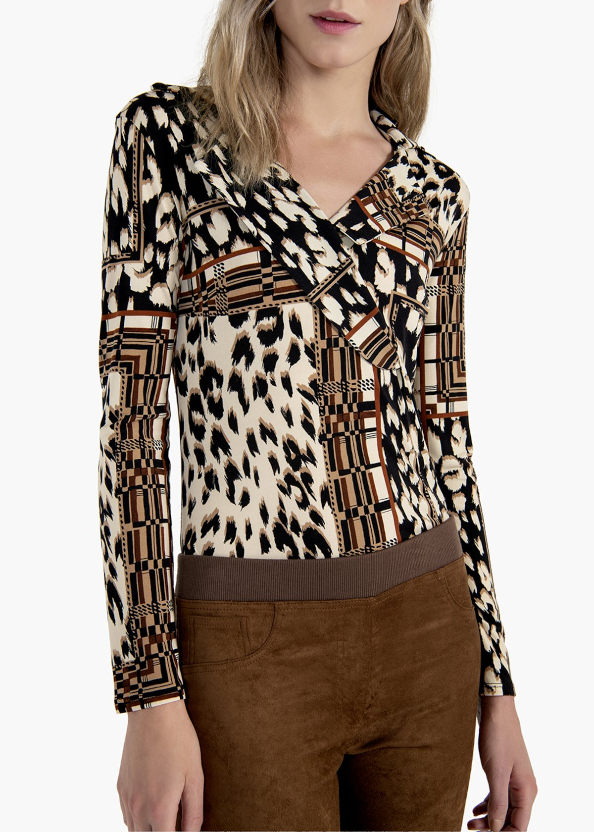 Simona long-sleeved T-shirt with V-neck - Grezzo  / Suolo Animalier - Woman