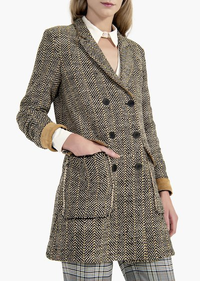 Conny double-breasted coat in herringbone fabric