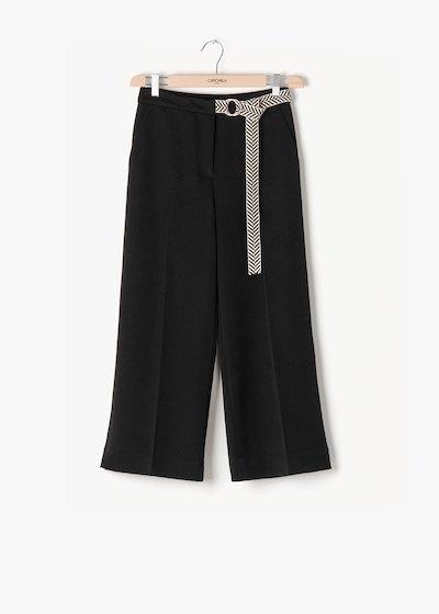 Pantaloni Sara in poliviscosa con cintura bicolor