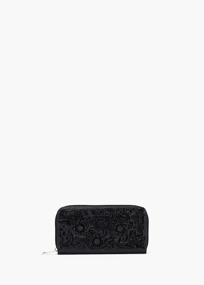 Wallet Phyl in faux leather flower embossed