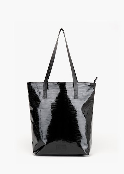 Shopping bag Bloques in glossy python-effect faux leather