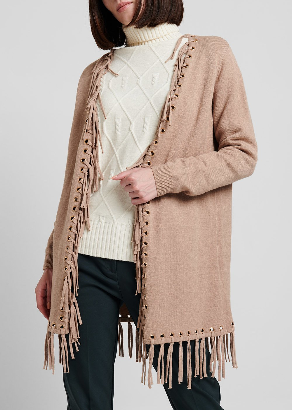 Viscose cardigan with fringes - Beige - Woman