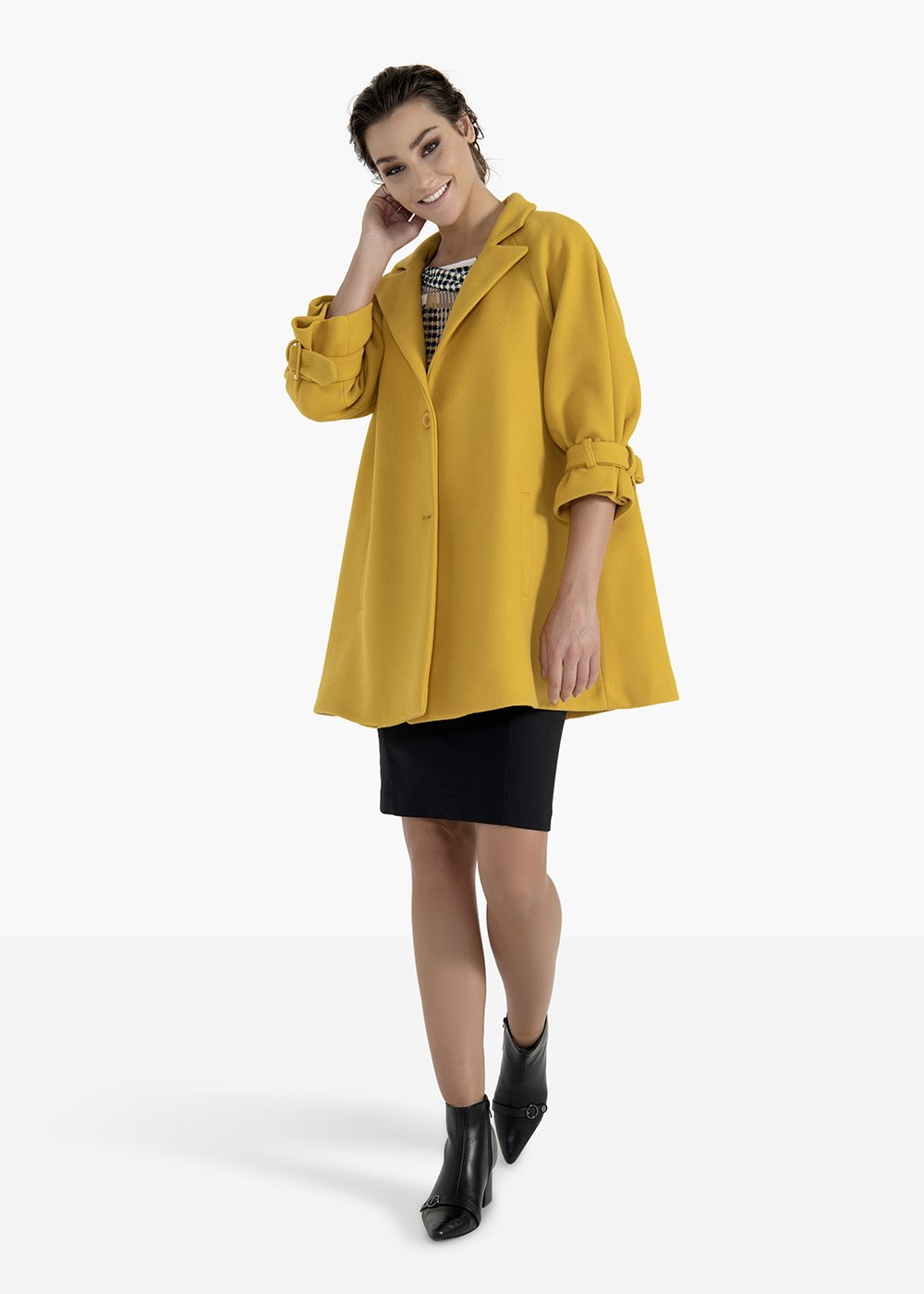 Coat Camilo in lined cloth with double button - Mais - Woman
