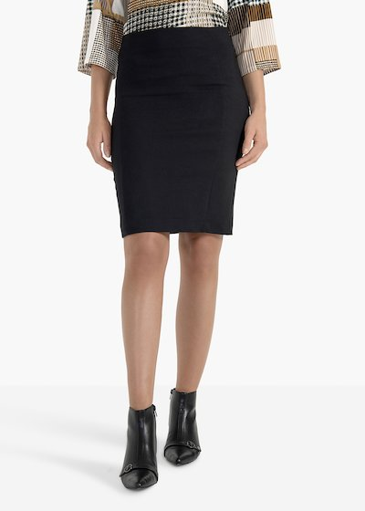 Pencil skirt Gaia in technical fabric with back tear