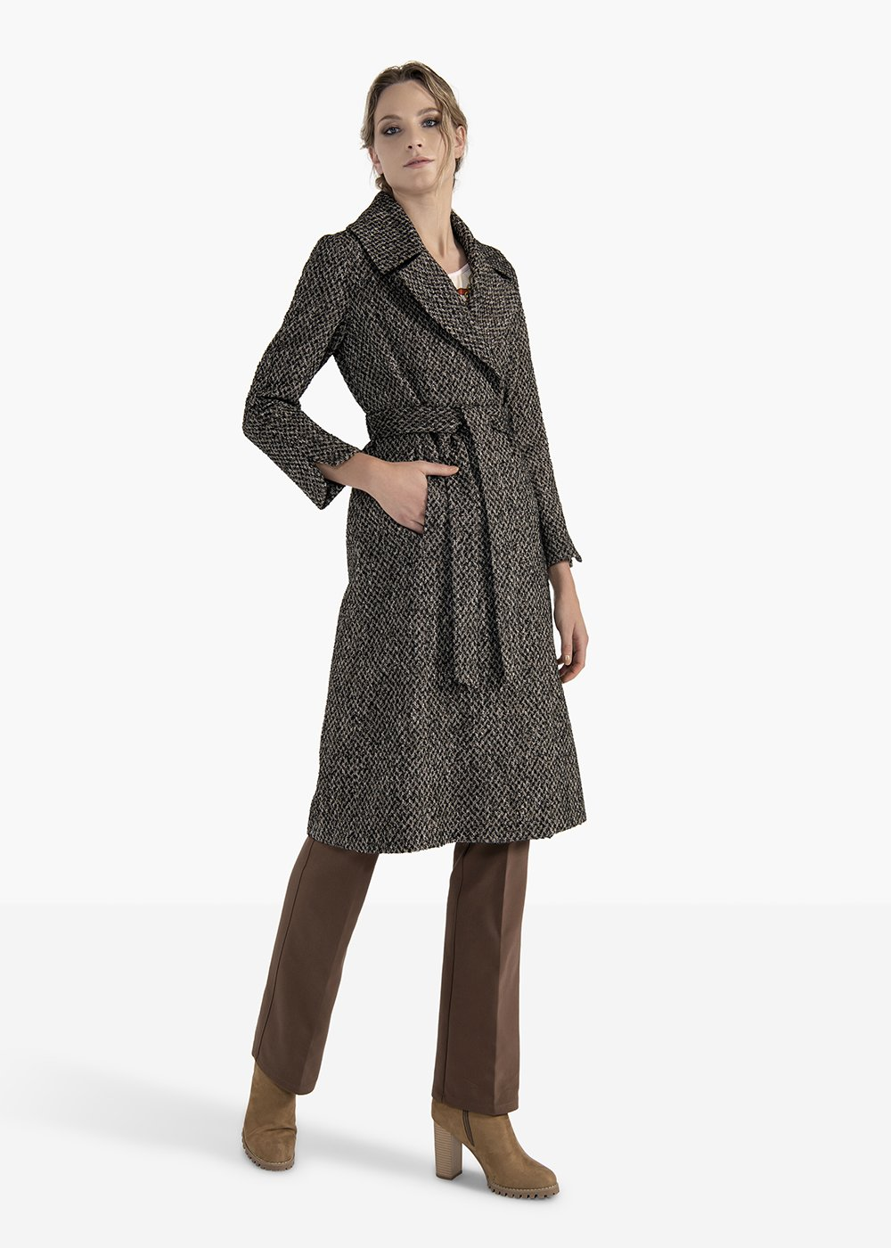 Double-breasted coat Charles in herringbone fabric - Black / Grezzo Fantasia - Woman