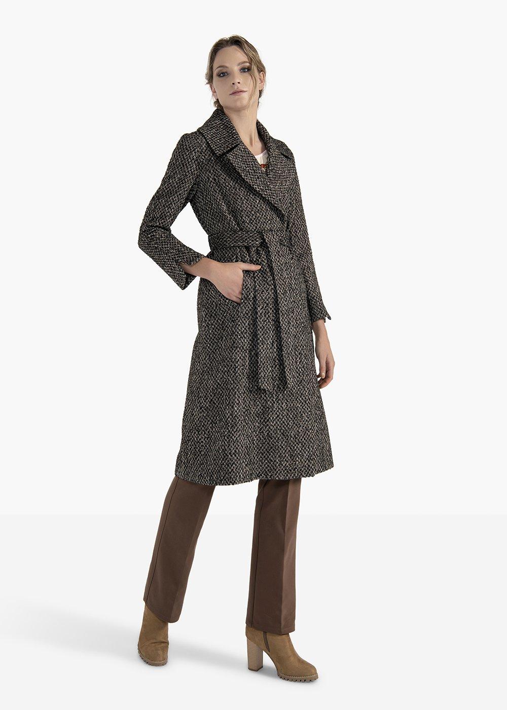 Double-breasted coat Charles in herringbone fabric - Black / Grezzo Fantasia - Woman