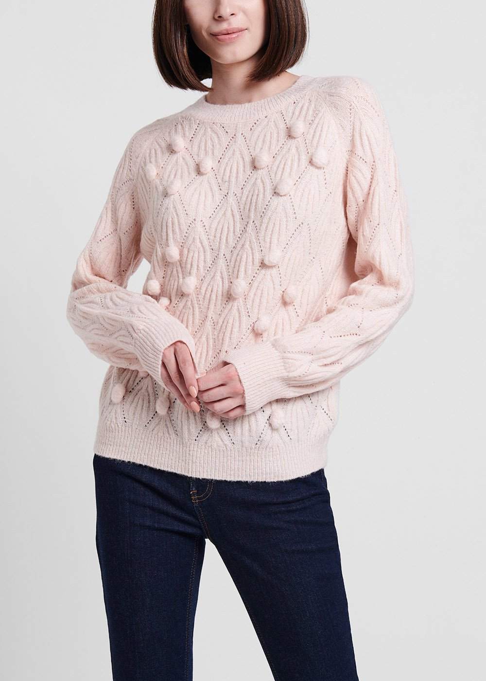 Sepia-coloured crew-neck sweater - Sepia - Woman