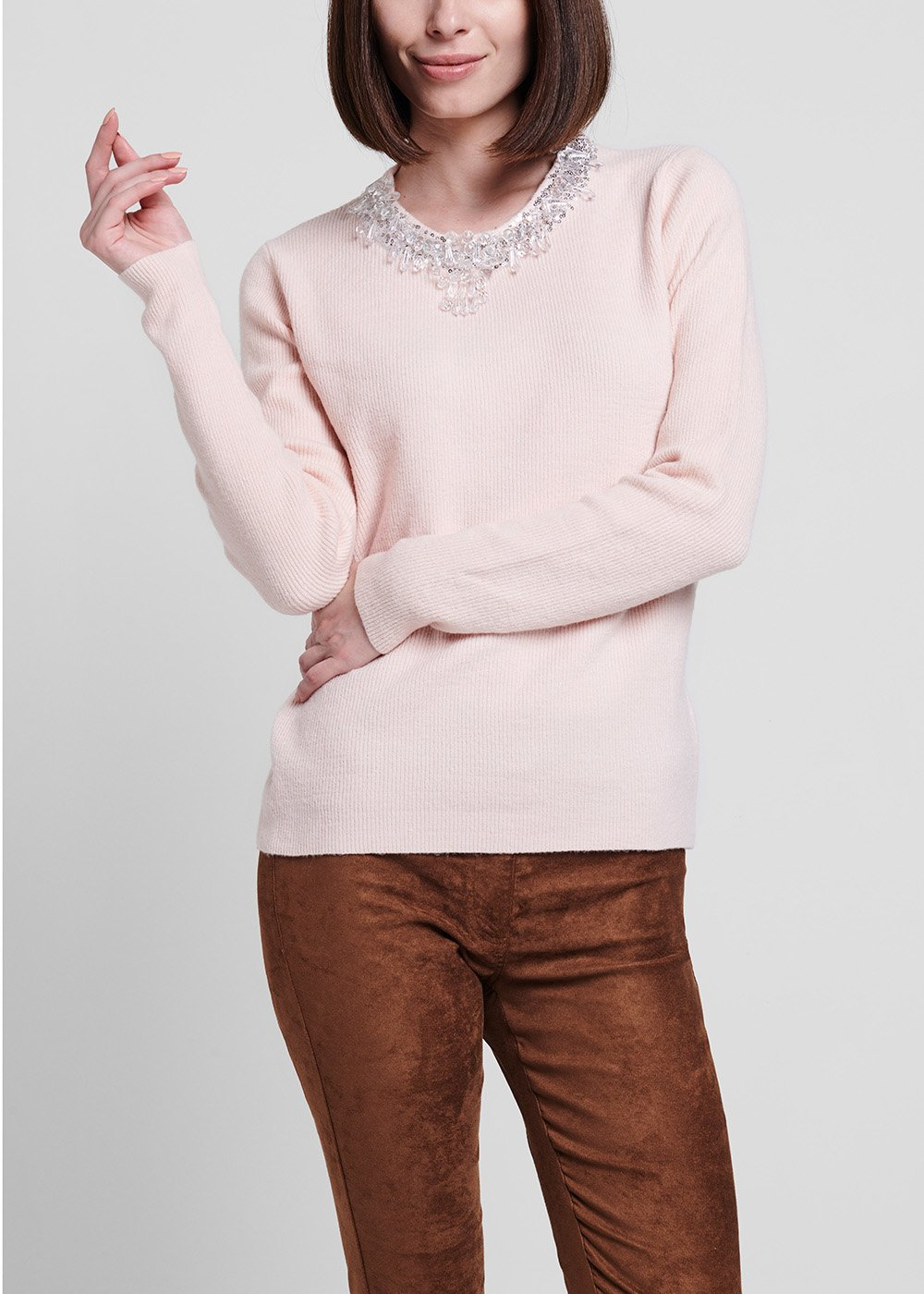 Sepia-coloured narrow-ribbed sweater with applique of crystals - Sepia - Woman