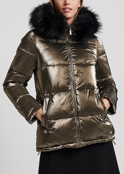 Down jacket in metal-effect fabric with hood